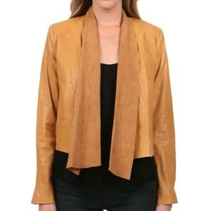 Alice + Olivia Open-Front Draped Leather Jacket
